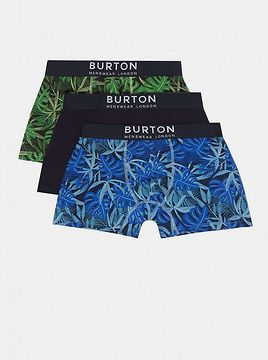 Set of three patterned boxers in blue and green burton menswear london
