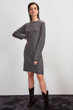 Trendyol Anthracite Accessory Detailed Knitwear Dress