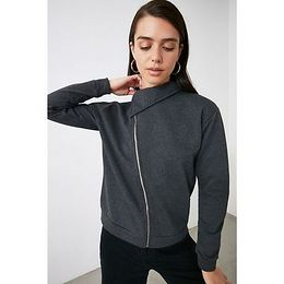 Trendyol Anthracite Zipper Knitted Sweatshirt
