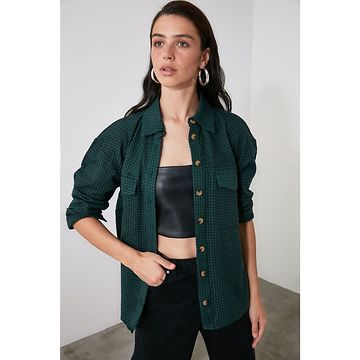 Trendyol Green Double Pocket Plaid Shirt