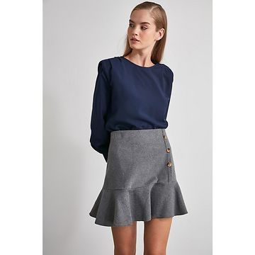 Trendyol Anthracite Flywheel Plaid Skirt