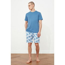 Trendyol Blue Palm Printed Pyjama Set