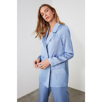 Trendyol Blue Button Jacket