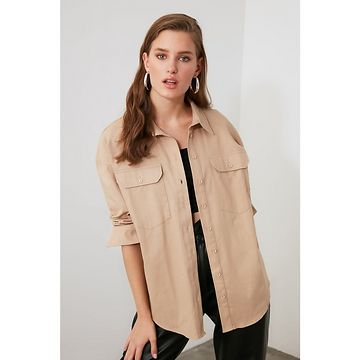 Trendyol Beige Pocket Detailed Shirt