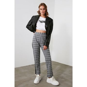 Trendyol Grey Plaid Knitted Trousers