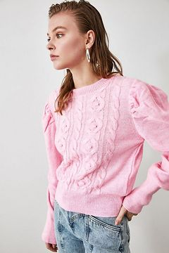 Trendyol Pink Balloon Coke Knit Sweater