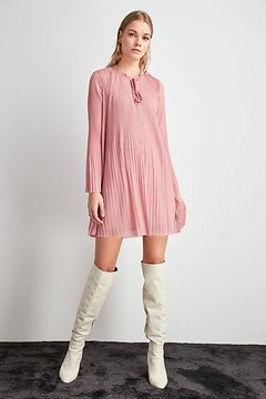 Trendyol Pink Pleated Knitted Dress
