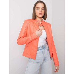 Orange eco-leather biker jacket