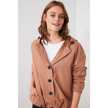 Trendyol Camel Hooded Button Detailed Mont