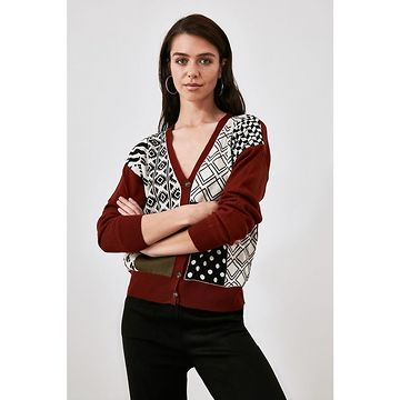 Trendyol Knitwear Cardigan WITH Tile Color Block