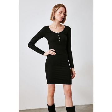 Trendyol Knitted Dress with Black Buttons