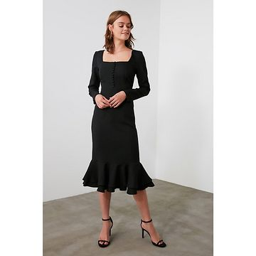 Trendyol Black Flywheel Button Detailing Dress