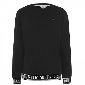 True Religion Ribbed Text Crew Sweatshirt