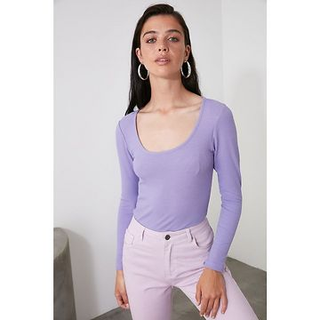 Trendyol Lila Pool Collar Knitted Blouse