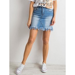 Blue frayed denim skirt