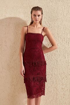Trendyol Burgundy Tassel Detailed Lace Dress