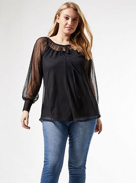 Dorothy Perkins Curve Black Blouse