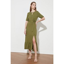 Trendyol Dark Khaki Belt Dress