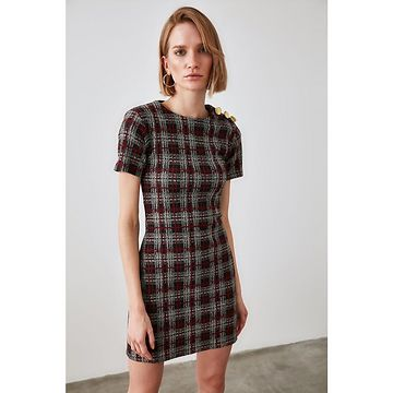Trendyol Multicolored Plaid Knitted Dress