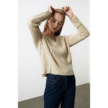 Trendyol Stone Flow Detailed Knitwear Sweater