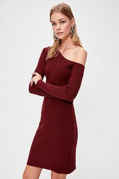 Trendyol Burgundy Boat Collar Knitwear Dress