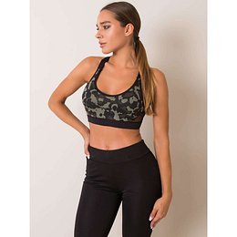 FOR FITNESS Black and khaki sports top
