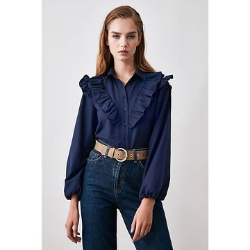Trendyol Navy Frill Detailed Shirt