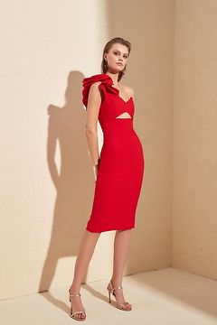 Trendyol Red Collar Detailed Dress