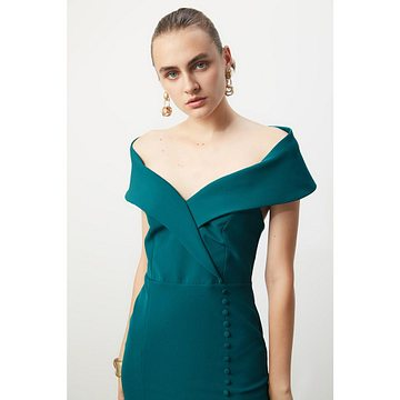Trendyol Emerald Green Button Detailed Dress