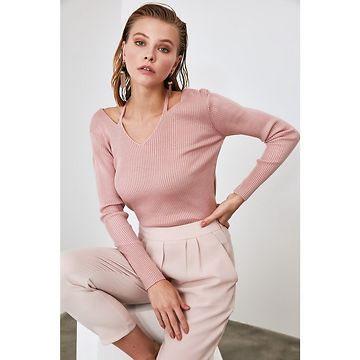 Trendyol Rose Dry Cut Out Detailed Knitwear Sweater