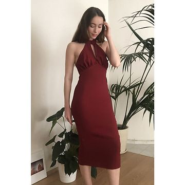 Trendyol Burgundy NeckLine Detailed Dress