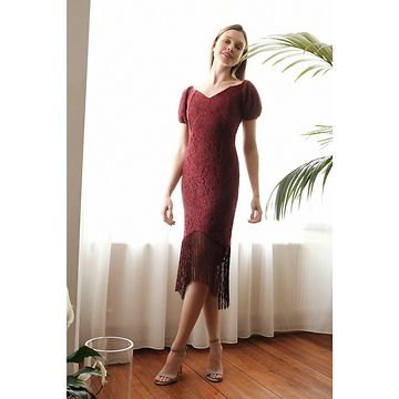 Trendyol Burgundy Tassel Detailed Dress