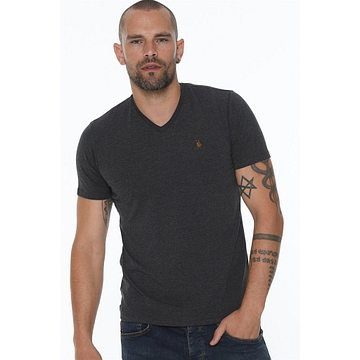 T8568 DEWBERRY V COLLAR MEN's T-SHIRT-ANTHRACIC