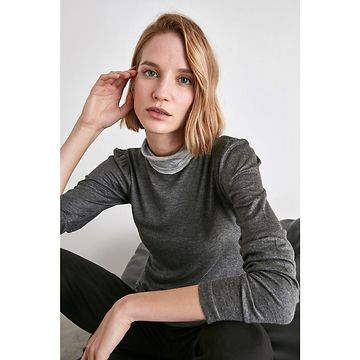 Trendyol Anthracite Collar Color Block Knitted Blouse