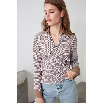 Trendyol Brown Collar Detailed Mooring Knitted Blouse