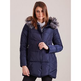 Navy blue winter jacket with hood