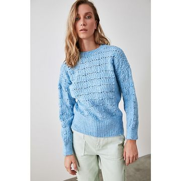 Trendyol Blue Knitted Knitwear Sweater