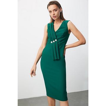 Trendyol Emerald Green Stone Detailed Dress