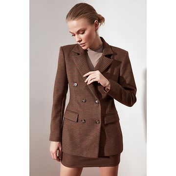 Trendyol Brown Button Detailed Jacket