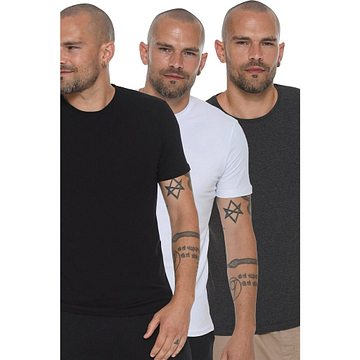 TRIPLE SET T8569 DEWBERRY BIKE COLLAR MEN's T-SHIRT-BLACK-WHITE-ANTHRACIC