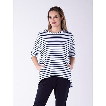 Look Made With Love Woman's Blouse 32 Portofino Navy Blue/White