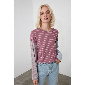 Trendyol Pink Striped Knitted Blouse