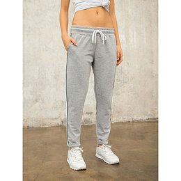 FOR FITNESS gray cotton sweatpants with stripes