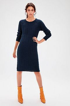 Trendyol Navy Knitwear Patterned Knitwear Dress