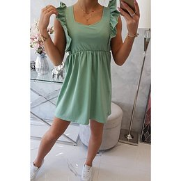 Dress with frills on the sides dark mint