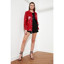 Trendyol Red Wrinkle-Looking Rugan Jacket Mont