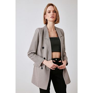 Trendyol Grey Button Jacket