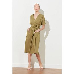 Trendyol Haki Belt Pocket Detailed Dress