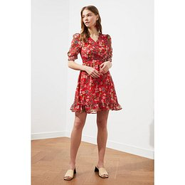 Trendyol Red Cruise Collar Patterned Dress