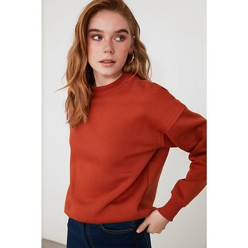 Trendyol Cinnamon Bicycle Collar Knitted Sweatshirt